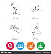 Ice Hockey Diving And Kayaking Icons Stock Vector