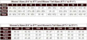 Misses Vs Women S Size Chart Standard Measurement Conversion Online Charts Collection