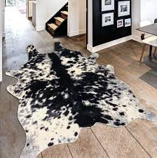 animal shape rug faux cow black white indoor area bath