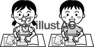 夏の子供宿題モノクロイラスト No 457008無料イラストなら
