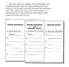 Abraham Lincoln George Washington Compare Contrast Venn Chart Presidents Day