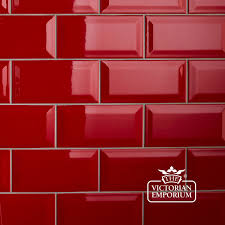 Red Floor Tiles Kitchen Bevel Wall Tiles 100x200mm Red Interior Ceramic Wall Tiles