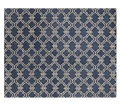 scroll tile rug indigo blue pottery barn