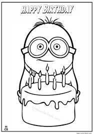 Small Picture Minion happy birthday coloring page