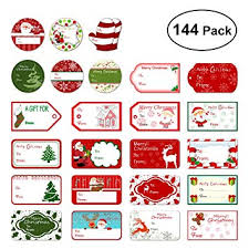 Tinksky Christmas Self Adhesive Gift Tag Stickers Santa Snowmen Xmas Tree Deer Christmas Festival Birthday Wedding Holiday Decorative Presents Labels