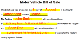 Sample Of Bill Of Sale For Car Word Template Bill Of Sale Vehicle Download Them Or Print