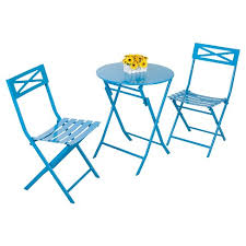 <b>3</b> - <b>Piece Folding</b> Metal Bistro Set - Blue - Captiva Design : Target