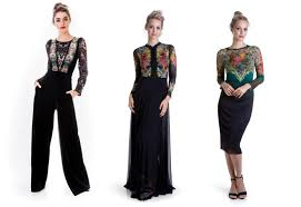 left to right festive evening v neck jumpsuit in black velvet with a fl artwork prints black maxi dress with long sleeves and a stunning lace on