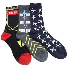 set of 3 pairs aviation themed premium crew socks