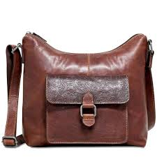 jack georges voyager fl hobo bag in hand stained buffalo leather with fl emboss