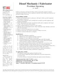 Resume Templates Diesel Mechanic Examples Pdf Cover Letter Military