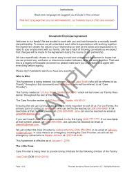 sample of contracts household employee agreement nanny parent connection