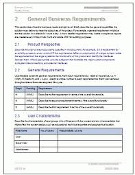 requirements document template business requirements document template business requirements for