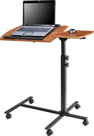 Smallg Desk On Wheels Black Wrought Iron Framed Laptop With Varnished  Wooden Top Surface As Well And Stand Up Desks