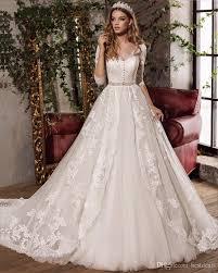 Wedding Dress Designs For Ladies 2018 New Design Sexy V Neck Elegant Bow Princess Wedding Dresses Gorgeous Appliques Vestido De Noiva Half Sleeves Hot Sale Designer Dresses For