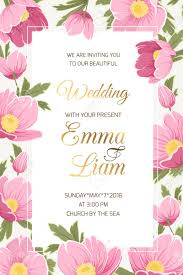 Wedding Event Invitation Card Template. Hellebore Anemone Poppy ...