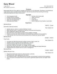 Sample Delivery Driver Resume Create My Resume Route Delivery Driver