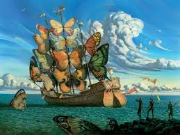 my favorite salvador dali painting the erfly ship love the colors and whimsicality