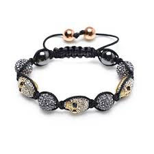 gold tone skulls grey pave crystal ball shamballa inspired bracelet for women for men black cord string adjule