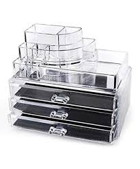home it clear acrylic makeup organizer cosmetic organizer and large 3 drawer jewerly chest or