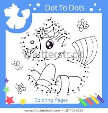 Worksheets Dot Dots Drawn Unicorn Children Stock Vector Royalty