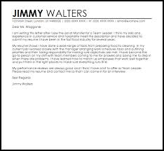 Customer Service Team Leader Cover Letter Examples Of Cover Letters For Team Leader Positions