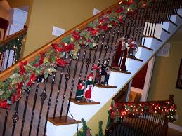 Decorations:Beautiful Christmas Garland For Stairs Using Red And Green  Color Also Black Iron Baluster