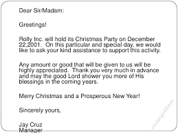 Sample Solicitation Letter For Christmas Party Example Good Resume