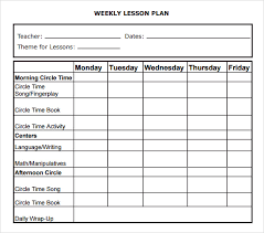 lesson plan template word doc weekly lesson plan template preschool lesson plan template for