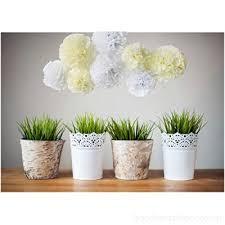 White Paper Flower Garland Furuix 8pcs White Mixed Cream Tissue Pom Pom Paper Flower With 2pcs