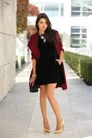 Stylish Black Velvet Dress Outfit Idea