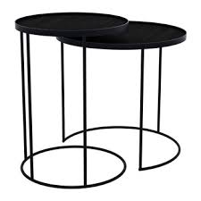 round nesting tray table set of 2