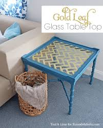 remodelaholic diy gold leaf glass table top and attractive glass coffee table makeover gallery 15
