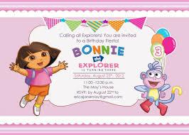 B Day Invitation Cards Dora The Explorer Theme Printable Birthday Party Invitation Cards