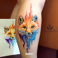 фото татуировки лиса в стиле акварель татуировки на икре