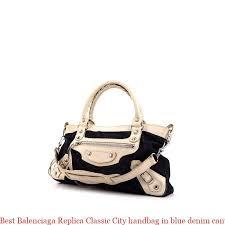 best balenciaga replica classic city handbag in blue denim canvas and off white leather