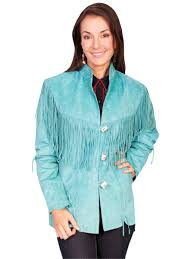 scully frontier turquoise boar suede womens fringe coat