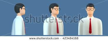 side view office set. 3d orthogonal front side threequarter avatar office manager programmer employee with glasses man icon view set