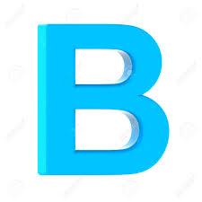 Light Blue B 3d Left Leaning Light Blue Letter B 3d Rendering Graphic Isolated