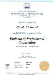 of professional counselling certificate diploma of professional counselling certificate