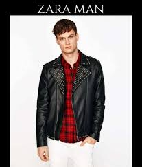 zara leather biker jacket for men black
