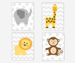 baby boys canvas nursery wall art yellow gray grey elephant giraffe monkey lion jungle safari animals chevron polka dots canvas prints baby nursery decor