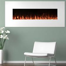 electric fireplace color changing wall in white