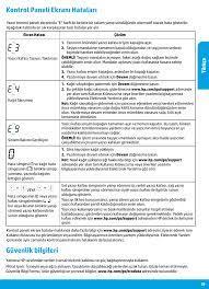 Güvenlik bilgileri, Kontrol paneli ekranı hataları, Türk çe | Инструкция по  эксплуатации HP DeskJet GT 5820