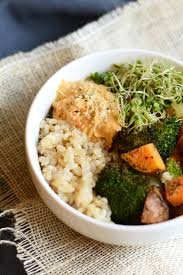 brown rice in a bowl. Wonderful Bowl Vegetarian Brown Rice Bowl With Roasted Veggies Hummus Hemp Seeds And  Sprouts For In A