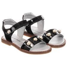 stuart weitzman girls black leather sandals childrensalon