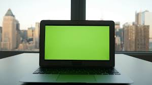 computer office table. Isolated Green Screen On Laptop Computer Display. Modern Office Desk Table View
