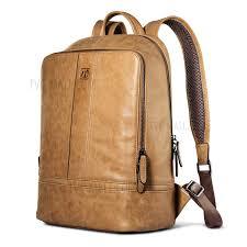 icarer men style shenzhou real leather backpack laptop bag for 13 inch laptops brown