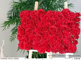 artificial red rose wall
