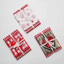 Christmas Design Checks Christmas Tea Towel Reusable Kitchen Textile Checks Tea